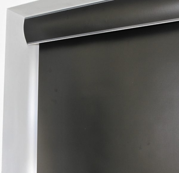 Louvolite Exlite Black Black out Roller Blind With Matching Pelmet-656