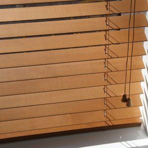 Pecan Wood Venetian Blind With Strings-0