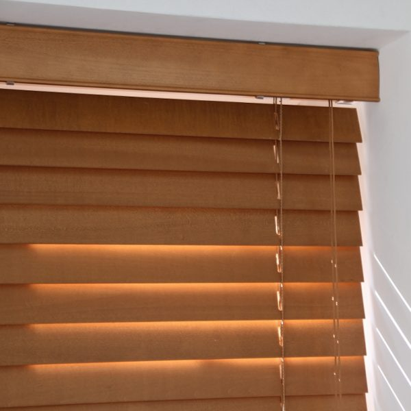 Pecan Wood Venetian Blind With Strings-557