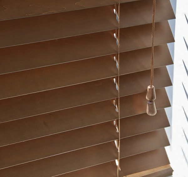 Walnut Wood Venetian Blind With Matching Strings-0