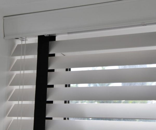 White Wood Venetian Blind With Black Tapes-801