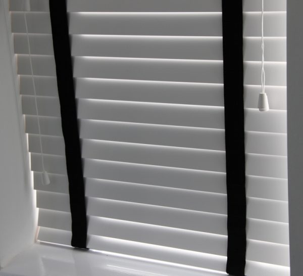 White Wood Venetian Blind With Black Tapes-802
