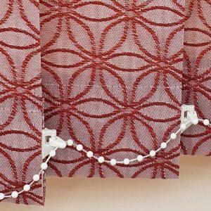 red vertical blind slats